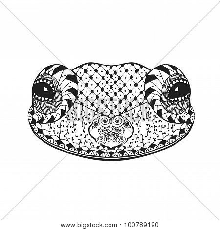 Zentangle stylized frog. Sketch for tattoo or t-shirt.