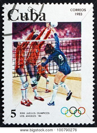 Postage Stamp Cuba 1983 Volleyball, 1984 Olympics, Los Angeles