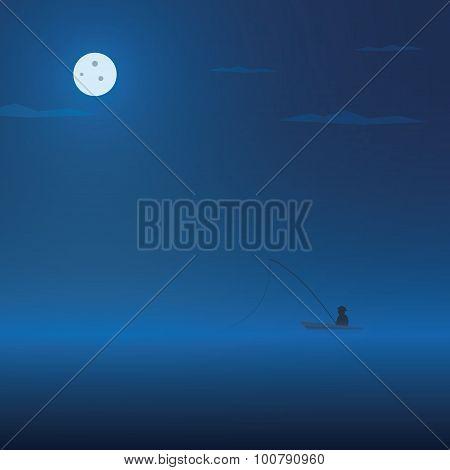 Fisherman and fishing boat at night. Dark atmosphere cartoon vector background.