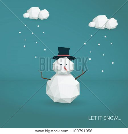 Christmas card vector template. Low poly 3d snowman and clouds snowing. Cute adorable cartoon illust