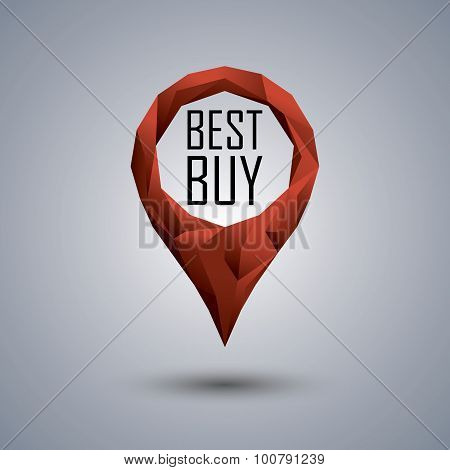 Best buy low poly icon. Polygonal location pin with promotional text. Sale advertising banner templa