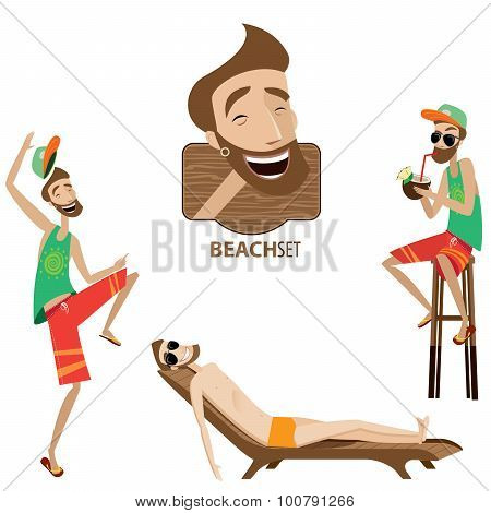 Set of beach men