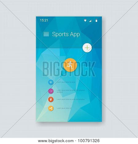 Material design user interface template. Low poly background for smartphone gui. UX layout in moder