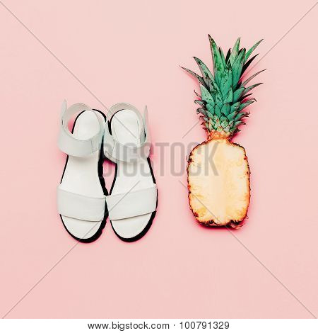 Summer Fashion Set. Vanilla Style Pineapple And Sandals