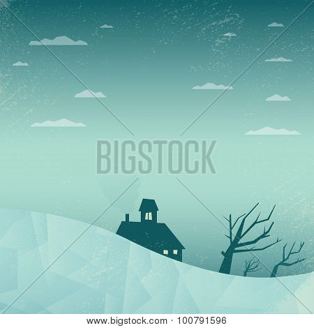 Winter landscape vector background. Polygonal graphic design. Depressing, sad, lonely scene. House w