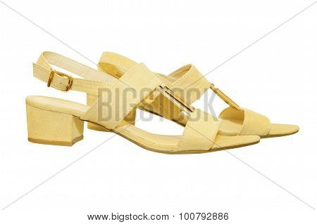 Pair Of Beige Woman Sandals Isolated On White.