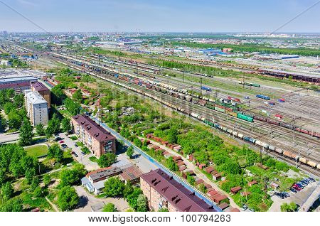 Voynovka railway node. Residential district.Tyumen