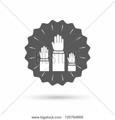 Election or voting sign icon. Hands raised up.