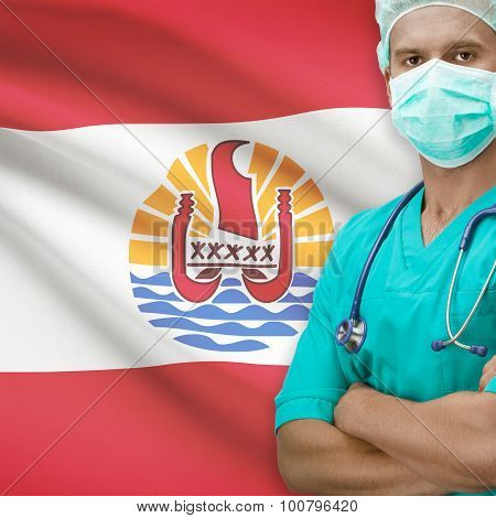 Surgeon With Flag On Background Series - French Polynesia