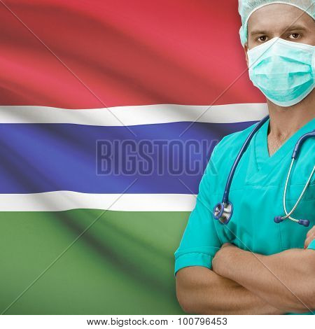 Surgeon With Flag On Background Series - Gambia