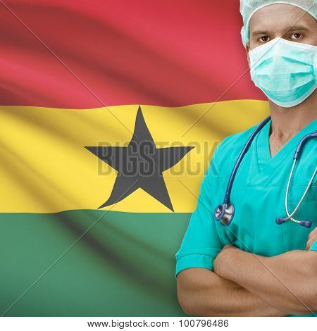Surgeon With Flag On Background Series - Ghana