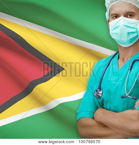 Surgeon With Flag On Background Series - Guyana