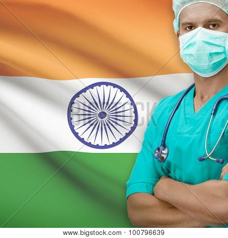 Surgeon With Flag On Background Series - India