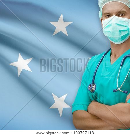 Surgeon With Flag On Background Series - Micronesia