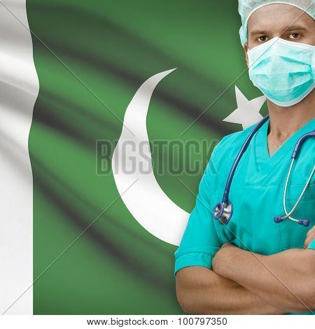 Surgeon With Flag On Background Series - Pakistan