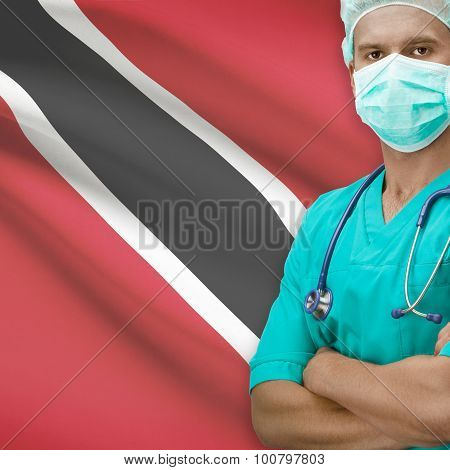 Surgeon With Flag On Background Series - Trinidad And Tobago
