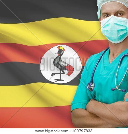 Surgeon With Flag On Background Series - Uganda