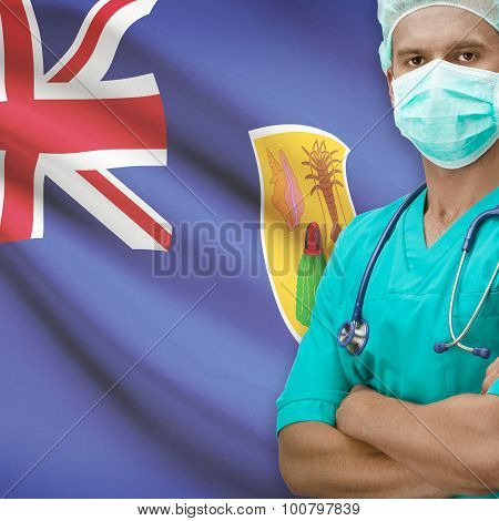 Surgeon With Flag On Background Series - Turks And Caicos Islands