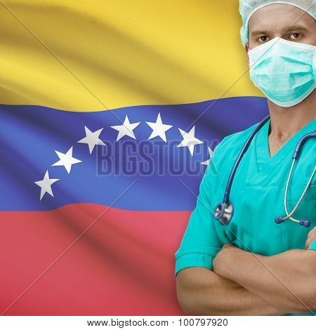 Surgeon With Flag On Background Series - Venezuela