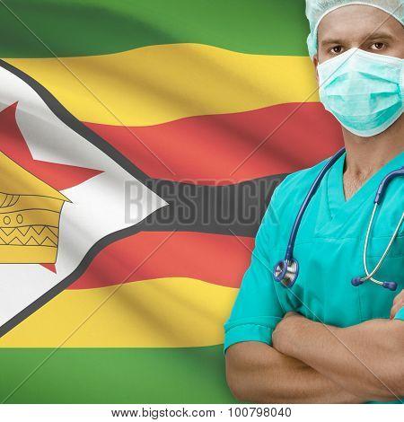 Surgeon With Flag On Background Series - Zimbabwe