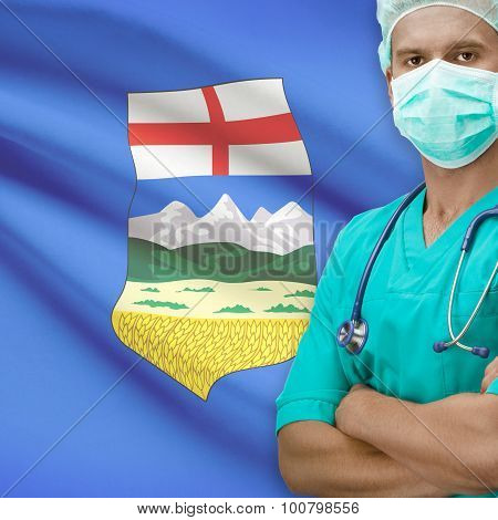 Surgeon With Canadian Province Flag On Background Series - Alberta