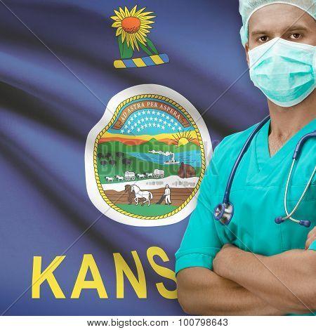 Surgeon With Us States Flags On Background Series - Kansas