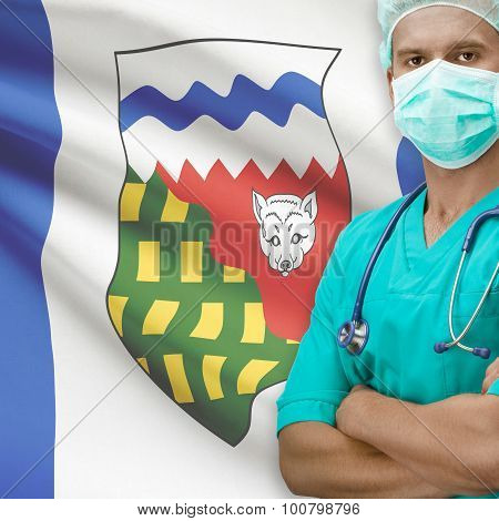 Surgeon With Canadian Province Flag On Background Series - Northwest Territories