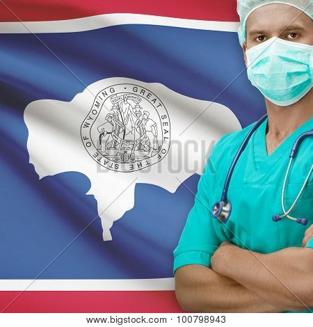 Surgeon With Us States Flags On Background Series - Wyoming