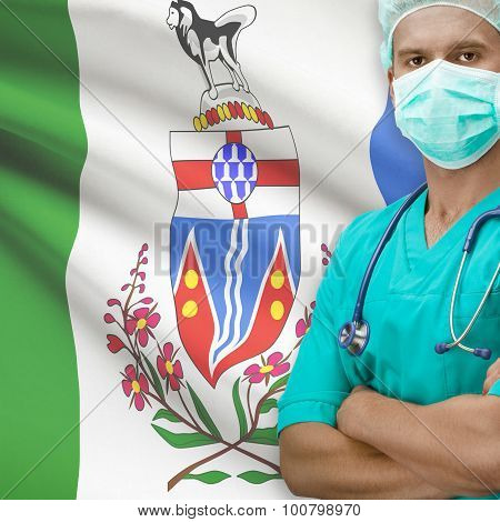 Surgeon With Canadian Province Flag On Background Series - Yukon
