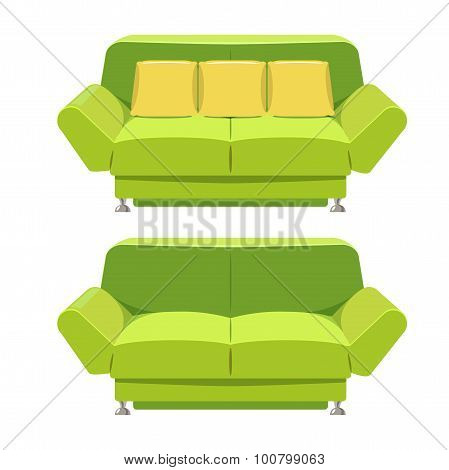 Green Sofa Couch Vector Design. Front View