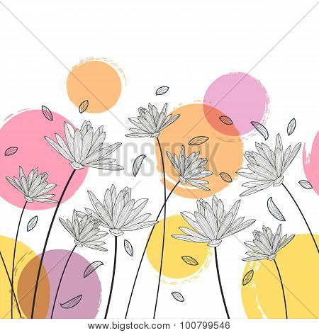 Vector Floral Seamless Horizontal Pattern. Black And White Background With Hand Drawn Lotus, Lily Fl