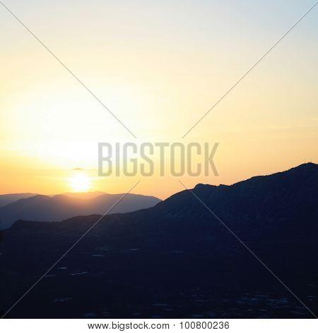 Turkey Landscape On Sunset. Mountains Near Adrasan.