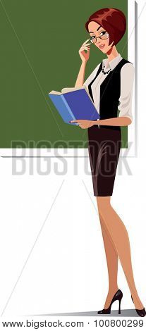 teacher at the blackboard with a book