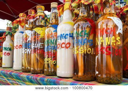 Assortment Of Rhum Bottles At The Market
