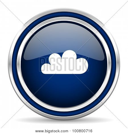 cloud blue glossy web icon modern computer design with double metallic silver border on white background with shadow for web and mobile app round internet button for business usage