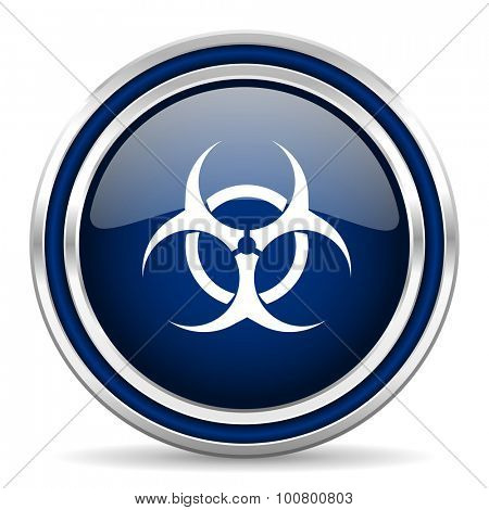 biohazard blue glossy web icon modern computer design with double metallic silver border on white background with shadow for web and mobile app round internet button for business usage