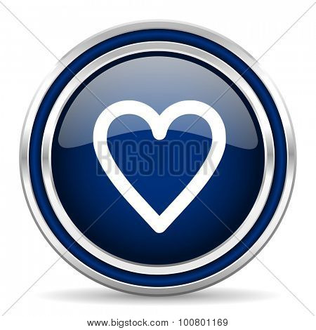 heart blue glossy web icon modern computer design with double metallic silver border on white background with shadow for web and mobile app round internet button for business usage