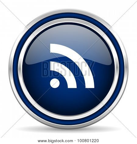 rss blue glossy web icon modern computer design with double metallic silver border on white background with shadow for web and mobile app round internet button for business usage