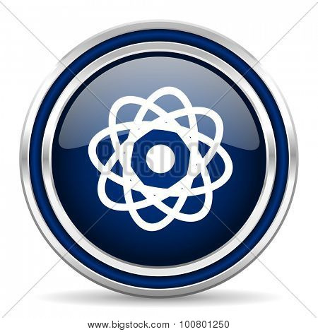 atom blue glossy web icon modern computer design with double metallic silver border on white background with shadow for web and mobile app round internet button for business usage