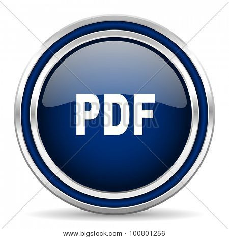 pdf blue glossy web icon modern computer design with double metallic silver border on white background with shadow for web and mobile app round internet button for business usage