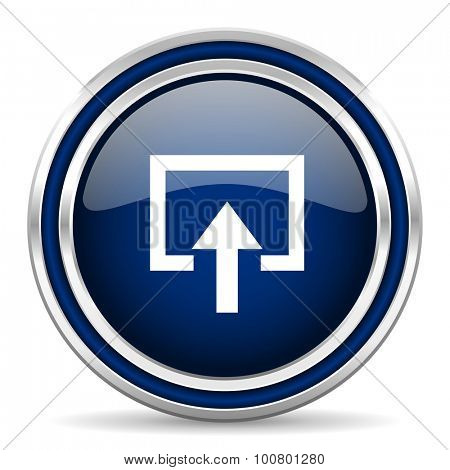 enter blue glossy web icon modern computer design with double metallic silver border on white background with shadow for web and mobile app round internet button for business usage