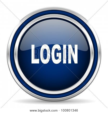 login blue glossy web icon modern computer design with double metallic silver border on white background with shadow for web and mobile app round internet button for business usage