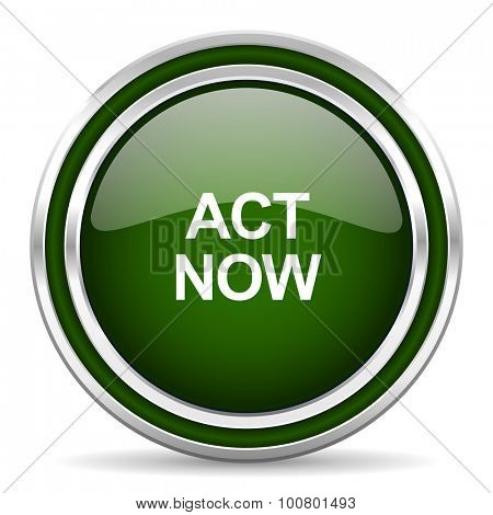act now green glossy web icon modern design with double metallic silver border on white background with shadow for web and mobile app round internet original button for business usage