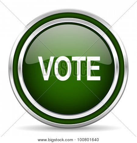 vote green glossy web icon modern design with double metallic silver border on white background with shadow for web and mobile app round internet original button for business usage