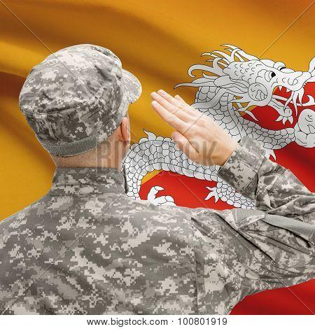 Soldier In Hat Facing National Flag Series - Bhutan