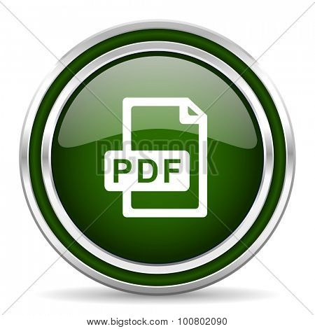 pdf file green glossy web icon  modern design with double metallic silver border on white background with shadow for web and mobile app round internet original button for business usage