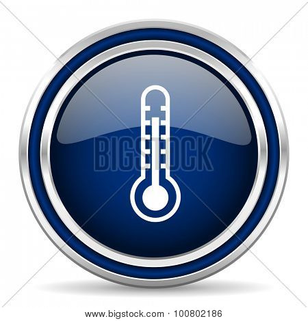 thermometer blue glossy web icon modern computer design with double metallic silver border on white background with shadow for web and mobile app round internet button for business usage