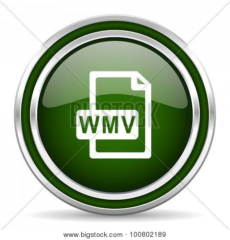 wmv file green glossy web icon  modern design with double metallic silver border on white background with shadow for web and mobile app round internet original button for business usage