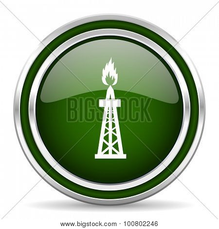 gas green glossy web icon modern design with double metallic silver border on white background with shadow for web and mobile app round internet original button for business usage