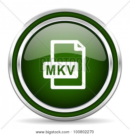 mkv file green glossy web icon  modern design with double metallic silver border on white background with shadow for web and mobile app round internet original button for business usage